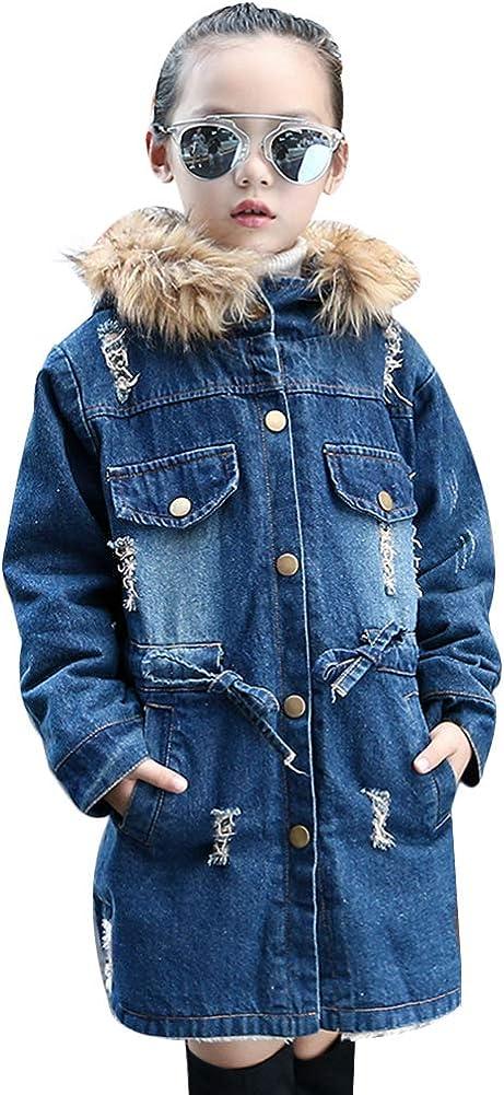 Big Girls Denim Thicken Hooded Jacket Fleece Lined Fur Collar Button Coat Outwear