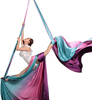 Ombre Aerial Silks Hand Dyed Aerial Fabrics for Aerial Yoga, Aerial Yoga Hammock, Aerial Acrobatic,Circus Arts, Aerial Dance (Electric Forest, Swivel Ring-13yard) …