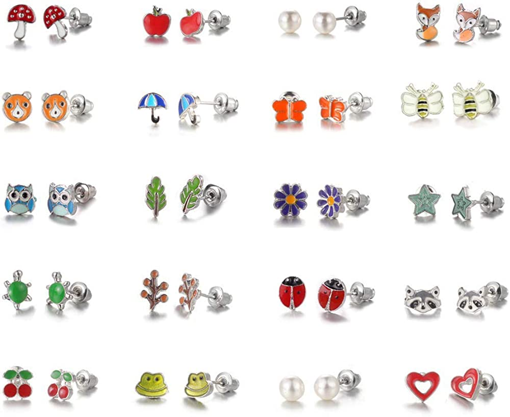 TRJJINUEL 20 Pairs Stud Earrings Set for Women Teens Gold White Multicolor Rhinestones Heart ball Cute animal lovely
