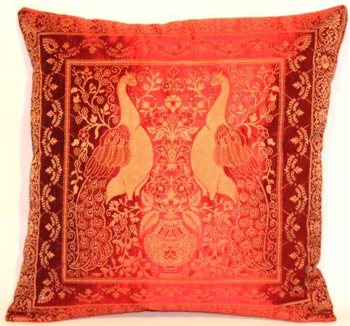 Housse de coussin rouge fabriqué à partir de soie Banarasi Inde, pour la décoration, 40x40, conception Extravaganza Peacock, design agréable canapé-lit, fabriqués à partir de Cachemire et l'Inde.
