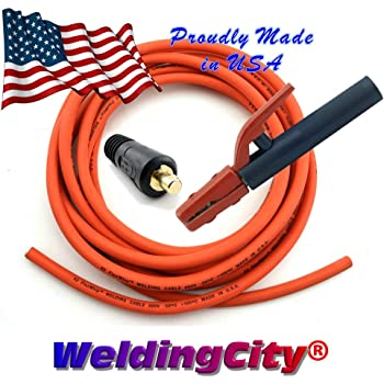 Weldingcity 10 Ft 1 Awg Heavy Duty Welding Cable Orange Red Made In Usa Whip Lead Stick Electrode Holder And Dinse Type Twist Lock Connector Set Amazon Com