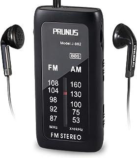 Miniradio de Bolsillo portátil PRUNUS J-982. Modo FM/Am, con BBS y Modo Stereo (Incluye Auriculares Gratis). Funciona con Pilas alcalinas (AAA)