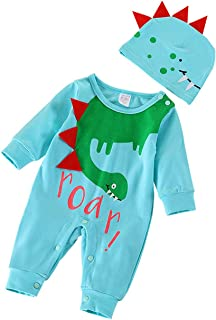 Baby Boy Outfits Roar Print Romper and Dinosaur Hat Clothes Set