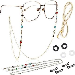 Kalevel 3pcs Eyeglasses Strap Sunglasses Chain Beaded Reading Glasses Lanyard Metal Eyewear Retainer for Girls Women with ...