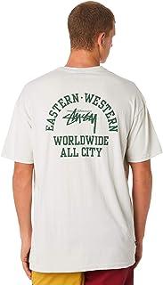 Stussy Men's All City Mens Tee Crew Neck Short Sleeve Cotton Soft White