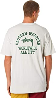 Stussy Men's All City Mens Tee Crew Neck Short Sleeve Cotton Soft White