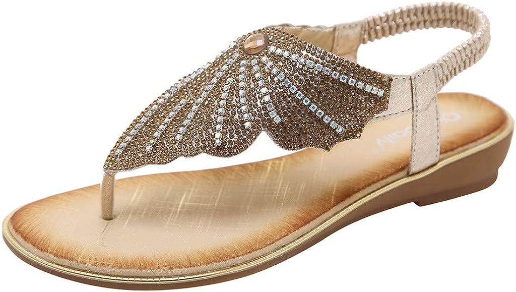 Women's Wedge Slippers Rhinestone Butterfly Clip Toe Flip Flops