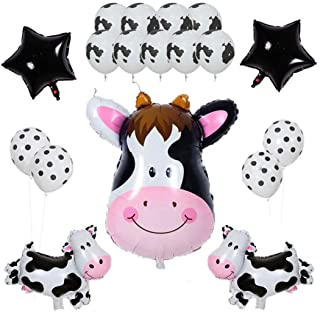 Morndew 18 PCS Cows Spot Foil Balloons and Latex Balloon for Farm Moo Theme Party Kids Girls Birthday party Baby Shower De...