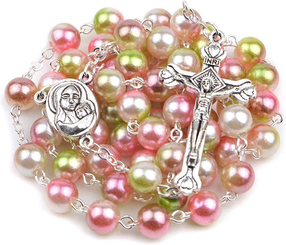 SWAOOS Colorful Acrylic Pearl Round Bead Necklaces Virgin Mary Multi Color Catholic Rosary Necklace