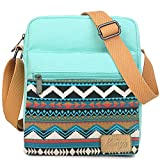 Kemy's Girls Stripe Tween Purses Set Small Crossbody Purse for Teen Girls Women Canvas Over Shoulder Messenger Bags for Traveling Easter Gifts, Teal White