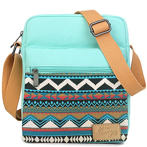 Image of the Kemy's Girls Stripe Tween Purses Set Small Crossbody Purse for Teen Girls Women Canvas Over Shoulder Messenger Bags for Traveling Easter Gifts, Teal White