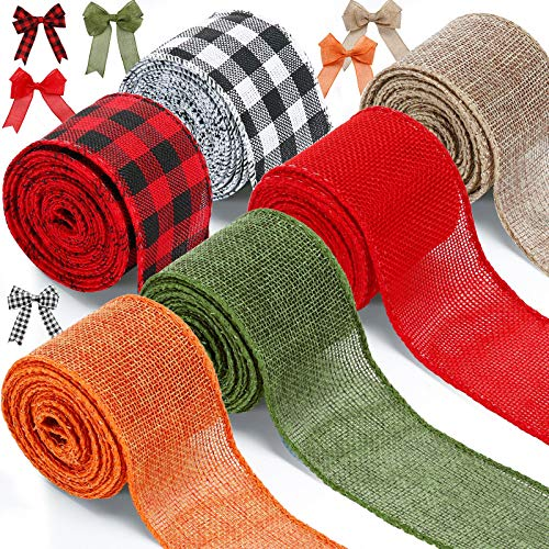 6 Rolls Christmas Wired Edge Ribbons 26.4 Yards x 2 Inches Christmas Buffalo Plaid Ribbon Solid Color Burlap Ribbon Gingham Craft Ribbon for Christmas DIY Wrapping Party Bow Craft Making