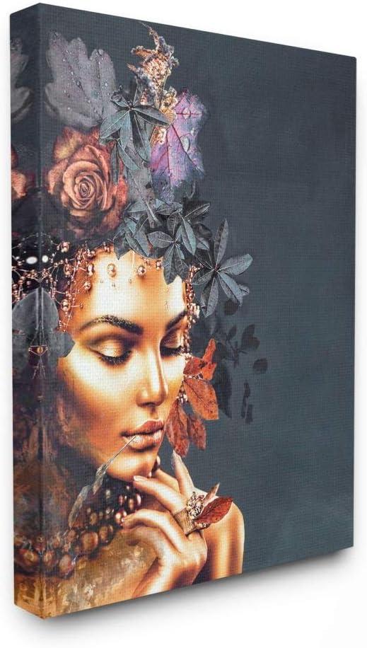 Stupell Industries Elegant Free Shipping Cheap Bargain Gift Glam In stock Female Floral Leav Portrait Hair
