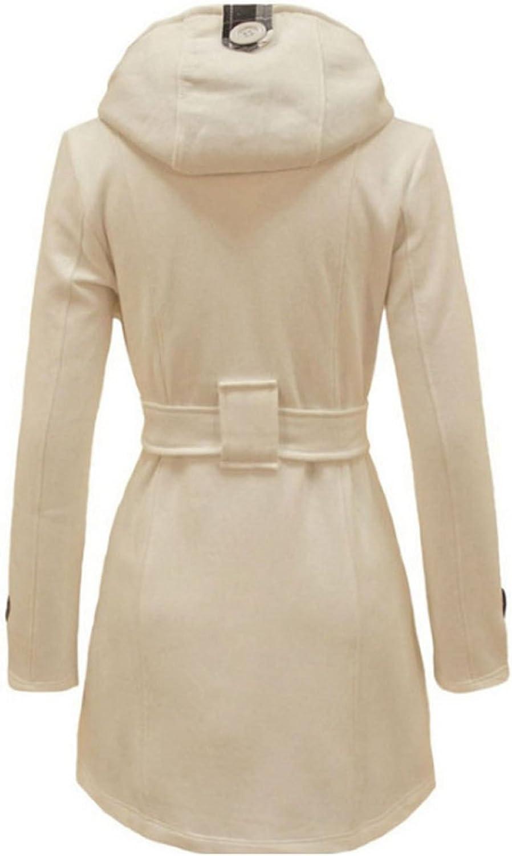 Ms. Warm Hooded Woolen Coat Doublebreasted Jacket
