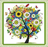 Benway Kit de broderie au point de croix compté Motif arbre en fleurs 14points/cm² 38 x 38 cm