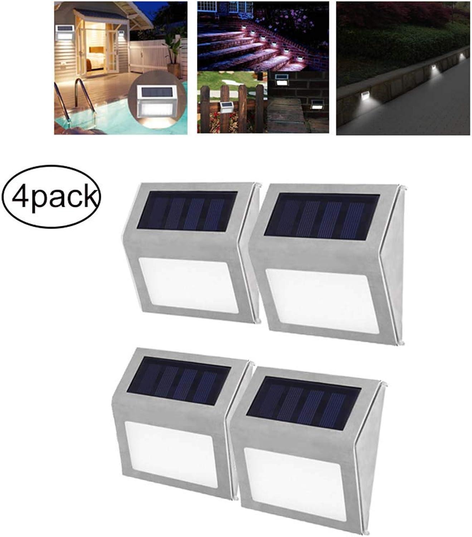 LIJUEZL 3 LED Solar Light Wandleuchte, Edelstahl wasserdicht Gartenzaun Sicherheitsleuchte, 4er Pack
