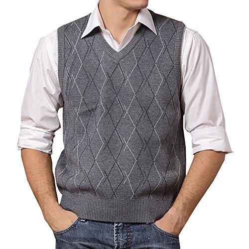 Lisianthuas Mens' Argyle V-Neck Sweater Vest Color A-Dark Grey Size L