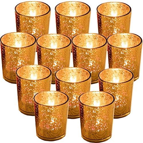 """Juego de 12 Candelabros de Velas en Cristal Soporte para Portavelas para Velas LED de té Portavelas de Cristal Dorado 2,67 """"H Candelita Candelero Oro Vidrio Mercurio para Navidad , fiestas y hogar"""