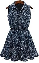 WYTong Ladies Cute Sleeveless Tunic Floral Mini Dress Turn-Down Collar Casual Slim Denim Dress