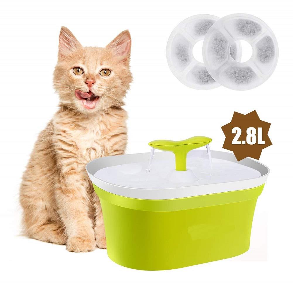 Fuente de agua para mascotas con gato automático, 95 oz / 2.8 L Dispensador de agua para perros con fuente de agua para gatos con 2 filtros de repuesto para gatos, perros,