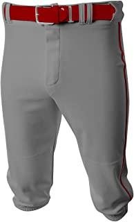 Baseball/Softball Knee High Pants Old School Knickers (10 Youth/Adult Sizes in 15 White and Grey Colors, Side Piping)