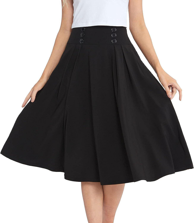 PIZZ ANNU Womens A-line Midi Skirt Flared High Waist Pleated Skirt with Side Pockets