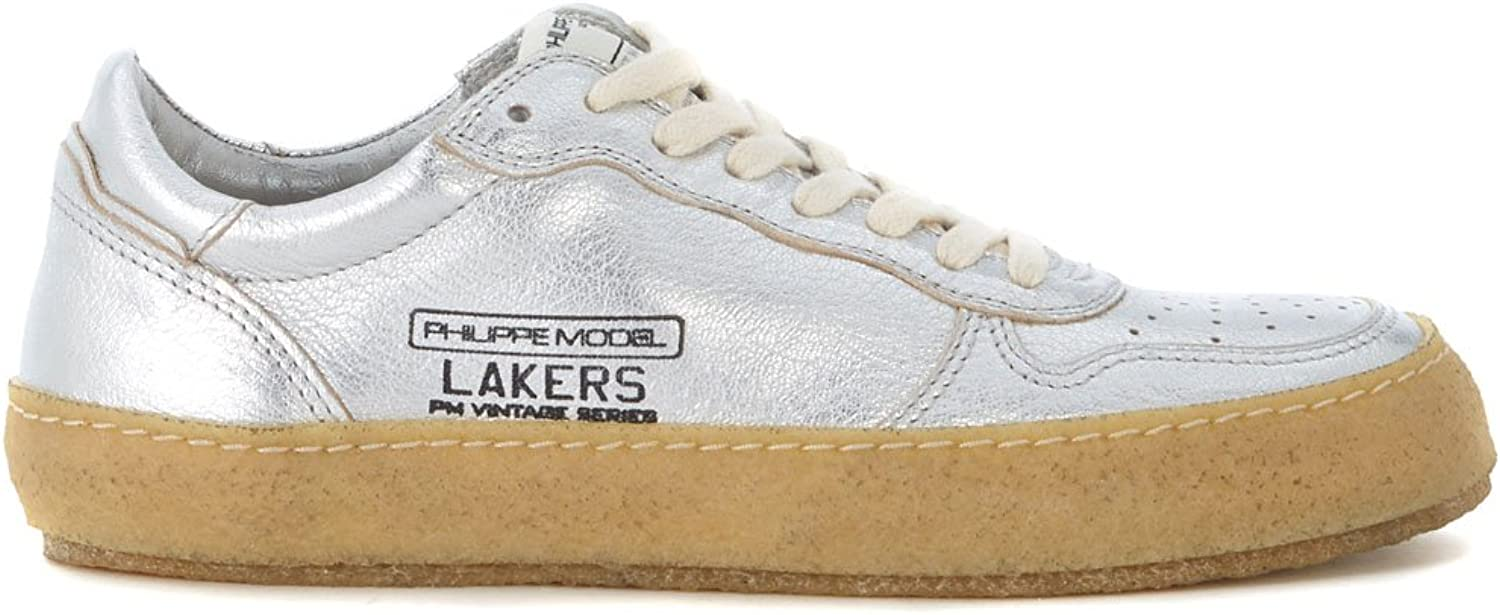 PHILIPPE MODEL Woman's Lakers Vintage Silver Leather Sneaker