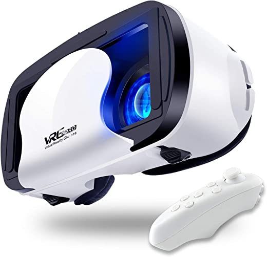 VR Headset with Controller Adjustable 3D VR Glasses Virtual Reality Headset HD Blu-ray Eye Protected Support 5~7 Inch for Phone/Android