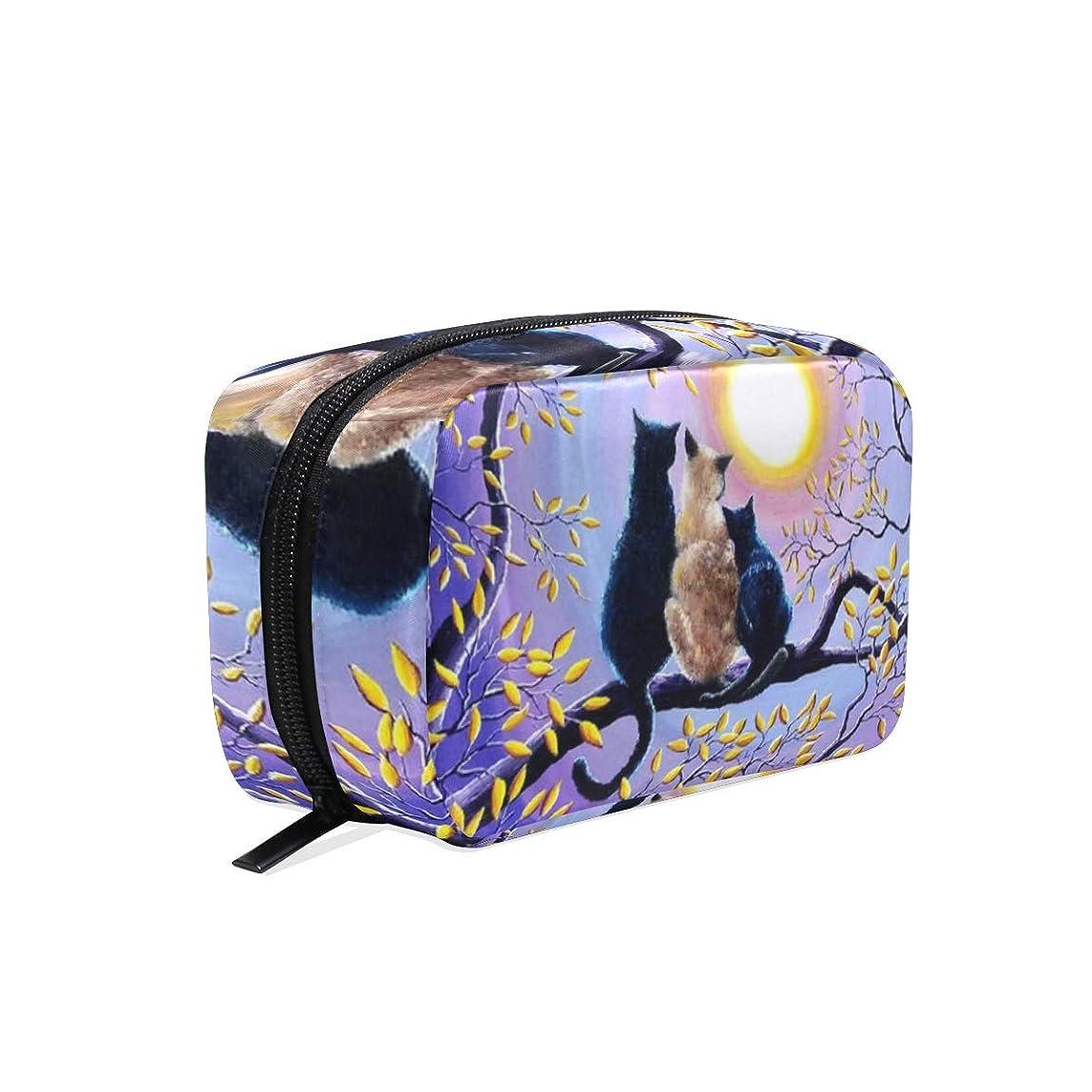 流星沿ってジャンル猫 月様 化粧ポーチ メイクポーチ 機能的 大容量 化粧品収納 小物入れ 普段使い 出張 旅行 メイク ブラシ バッグ 化粧バッグ