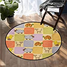 Nursery Low-Profile Mats Toys and Animals in a Checkered Background Teddy Bears Sheep Cats Duck Toys Floor Mat for Toilet Non Slip D78 Inch