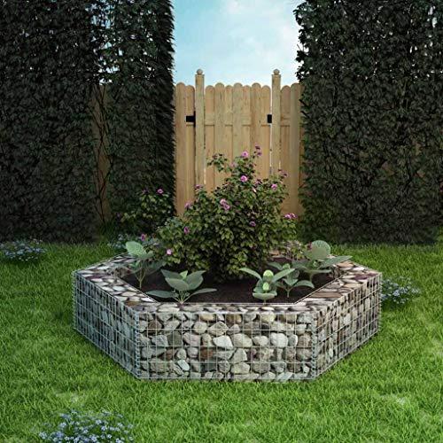 UnfadeMemory Jardinera Exterior Hexagonal,Gaviones de Piedra,Muro de Gaviones,Decorativos para Jardin Patio,Acero Galvanizado,Plateado (200x173x40cm)