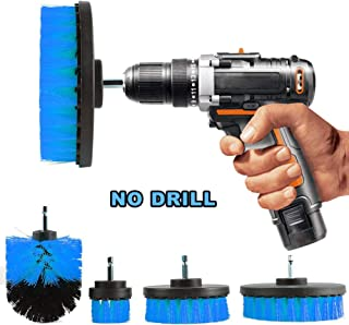 Oeyal 4 Pieces Drill Brush Bathroom Surfaces Tub, Shower, Tile and Grout All Purpose Power Scrubber Cleaning Kit, Blue