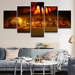 HZDDR Modern Canvas HD Print Wall Art Painting Frame Picture 5 Panels Game Artistic Dark Hand Card Home Decor Living Room Poster-30CMx40/60/80CM