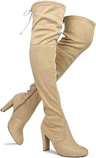 Details about  /Womens Rivet Platform Knight Block High Heels Over The Knee Boots #3