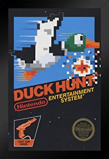 Pyramid America Duck Hunt Nintendo NES Video Game Gaming Black Wood Framed Poster 14x20