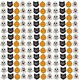 Bulk 144 Halloween Cute Emoji Mini Erasers - Cat, Ghost, Skeleton, Jack o Lantern Pumpkin - Trick or Treat (12 Dozen)
