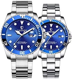 Couple Watches Classic Golden Stainless Steel Watch His and Hers Waterproof Quartz Watch