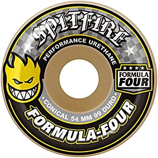 Spitfire Formula Four White/Yellow Conical 99D Skateboard Wheels - Set of 4
