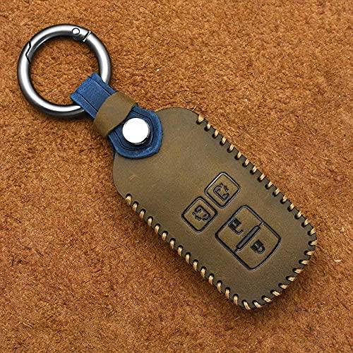 SENDIAYR Leder Schlüsselhülle Keyless Entry Shell Case Vollschutz Fernbedienung Schlüsselbund Halter,für Toyota Noah New Alphard Voxy Esquire2018 2019 braun