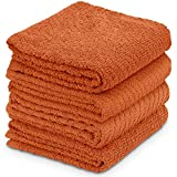 DecorRack 4 Large Kitchen Towels, 100% Cotton, 15 x 25 inches, Absorbent Dish Drying Cloth, Perfect for Kitchen, Solid Color Hand Towels, Burnt Orange (4 Pack)