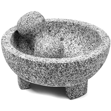 IMUSA USA MEXI-2011M Super Heavy Traditional Granite Molcajete Spice Grinder, 8-Inch, Gray, 8