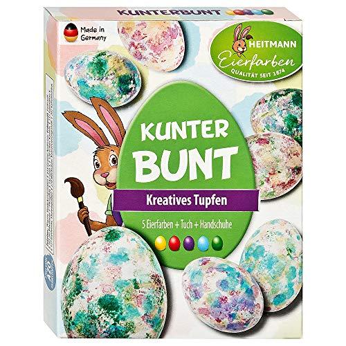 Heitmann Eierfarben Kunterbunt - 5 flüssige Kaltfarben - Färben mit Vliestuch - azofrei - Ostern - Ostereier bemalen, Ostereierfarbe