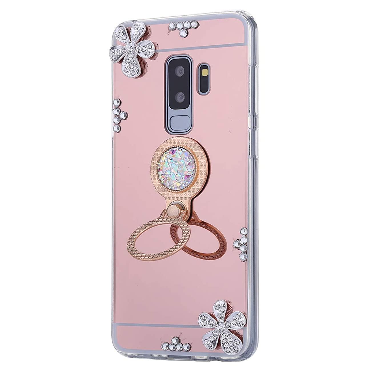 Galaxy S9 Plus Case,PHEZEN Luxury Shiny Bling Glitter Rhinestone Rose Gold Mirror Makeup Case with Ring Holder Stand Diamond Crystal Flower Protective TPU Case for Samsung Galaxy S9 Plus