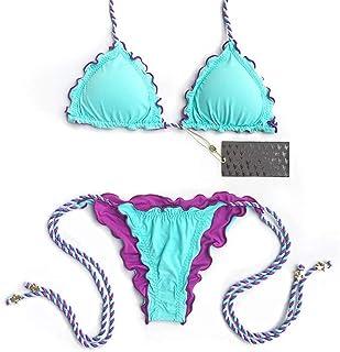 LUZIWEN Flounced solid color bikini swimsuit swimwear Ms. braided rope straps (Color : Light blue, Size : M)
