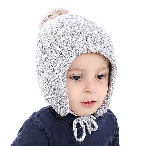 24bbee62a0b Cutegogo Crochet Baby Beanie Earflaps Little Girl Boy Knit Infant Hats  Winter Warm Cap Lined Polyester