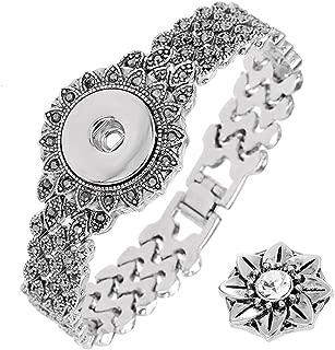 LEGENSTAR Vintage Silver Snap Button Jewelry Bracelets for Women 18-20mm DIY Alloy Interchangeable Charm Bangles Female