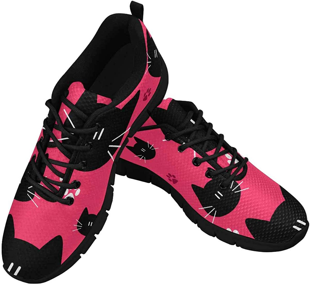INTERESTPRINT Cute Pattern with Cat Faces Women's Sneaker Lace Up Running Comfort Sports Shoes
