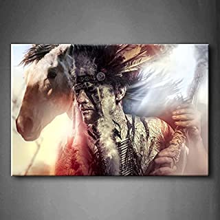 TANDA Modern Canvas American Indian Warrior Man With Feather Headdress And Tomahawk Horse Gray Background Wall Art Painting Pictures Print On Canvas People Picture For Bedroom