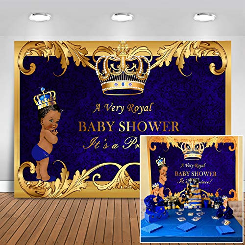 Mocsicka Royal Prince Baby Shower Backdrop Black Boy Gold Crown Photography Background 7x5ft Vinyl Little Prince Royal Blue Backdrops for Baby Shower Party