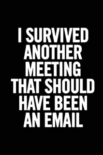 I Survived Another Meeting that Should Have Been an Email: 6x9 Lined 100 pages Funny Notebook, Ruled Unique Diary, Sarcast...